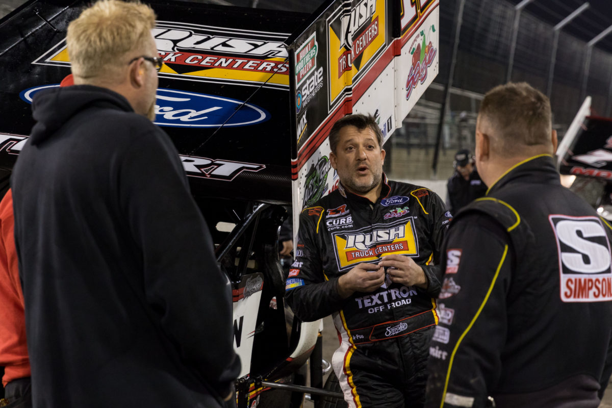 Tony Stewart on the podium during MOWA season opener