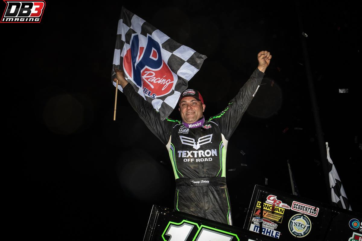 Donny Schatz gets sixth Outlaw victory of the season during visit to Lake Ozark Speedway