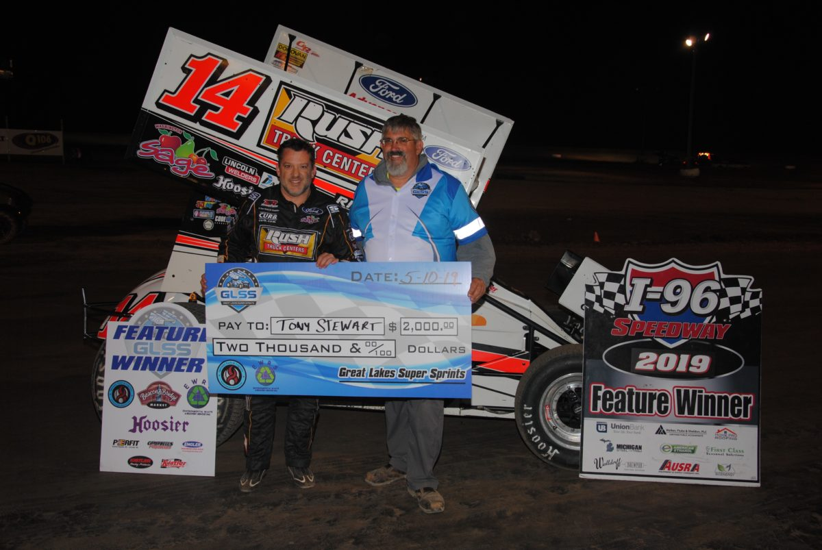 Tony Stewart earns GLSS victory at I-96 Speedway; All Star triple next
