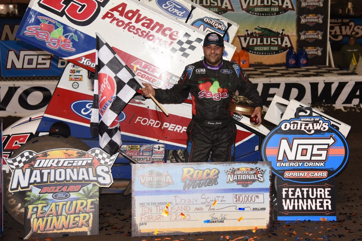 Donny Schatz opens 2020 World of Outlaws campaign with victory during Volusia's DIRTcar Nationals